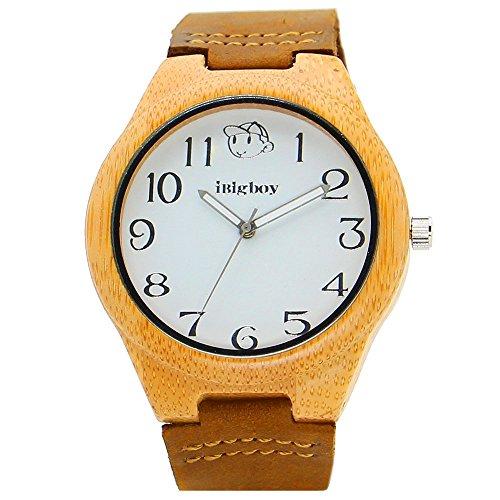 iBigboy Team Holz mit Bambus Luenette und braunem Lederband Uhr fuer Geliebtuhr IB 1610Aa