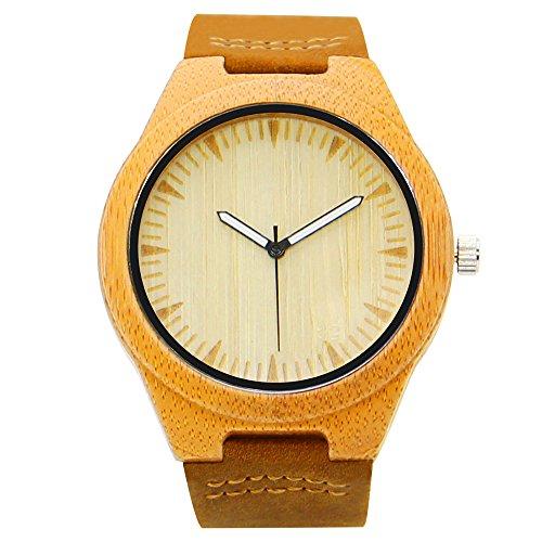 iBigboy Mens Holz Uhr mit Bambus Luenette und Lederband zeigt Mode Uhr IB 1600Cb
