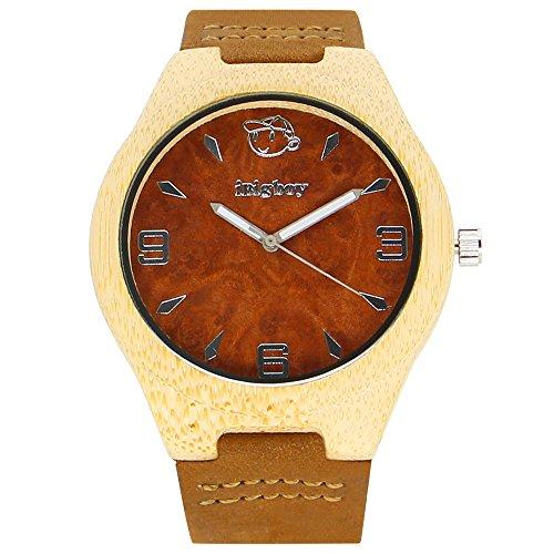 iBigboy Fabrik Holz Uhr mit weissem Bambusgehaeuse und braunem Lederband fuer Herrenuhr