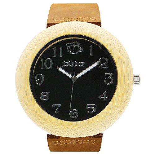 iBigboy Beste Verkaeufer Holz Uhr mit Quarzwerk und Leder Uhr fuer Schoenheit Uhr