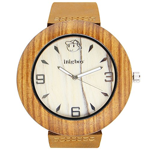 iBigboy Boy Holz Uhr mit braunem Lederband und Quarzwerk aus der japanischen Uhren