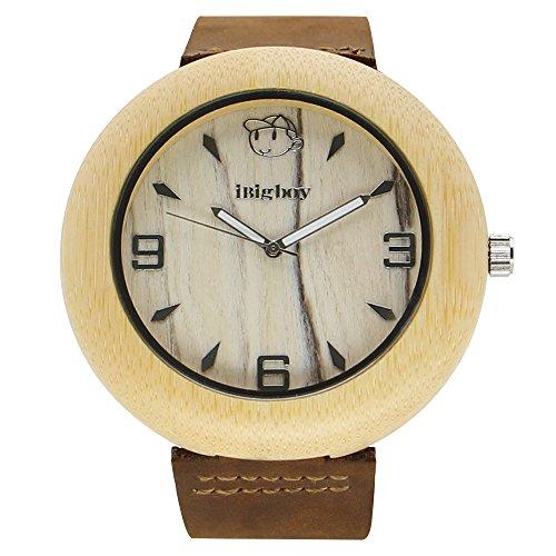 iBigboy Film Holz Uhr mit Quarzuhr und Leder Uhr fuer Universitaet Uhr