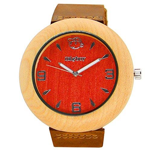 iBigboy Geschenk Holz Uhr mit schoenen Box und leichte Uhr fuer Mann Uhr