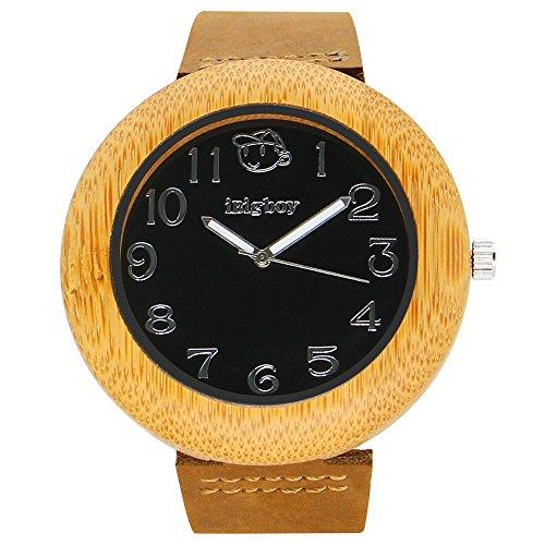 iBigboy Globale Holz Uhr mit schwarzem Gesicht und braunem Lederband aus Bambus Uhr