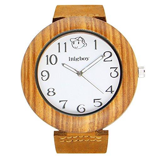iBigboy grosse Holz Uhr und braunem Leder Uhr mit Quarzwerk fuer Vaters Uhr
