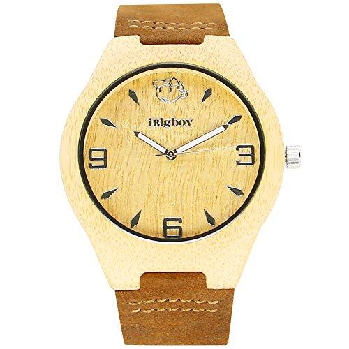 iBigboy handgemachte Holz Uhr mit goldenen Gesicht und braunem Lederarmband fuer Uhr der Frauen