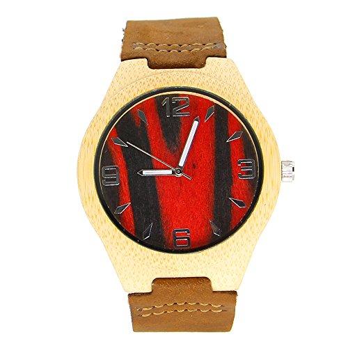 iBigboy DIY Holz Uhr mit Lederband und Quarzwerk in verschiedene Uhr