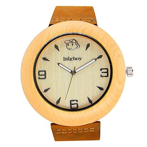iBigboy Oma Holz Uhr mit Softband und natuerliche Luenette fuer Oma Uhr