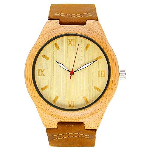 iBigboy DIY Holz Uhr mit Lederband und Holzrahmen in Mode Stil Jungs sehen IB 1600Bc