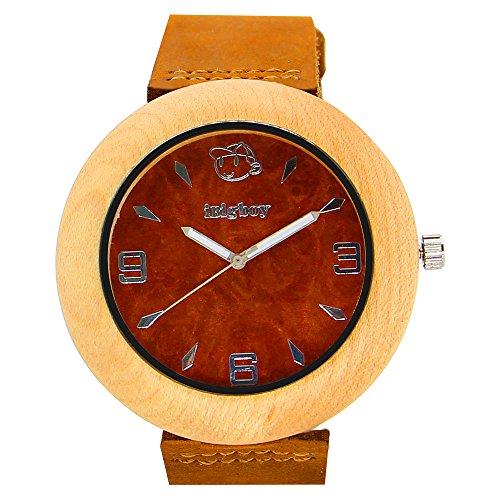 iBigboy Liebe Holz Uhr mit Lederband und Ahorn Luenette fuer Liebhaber Uhr