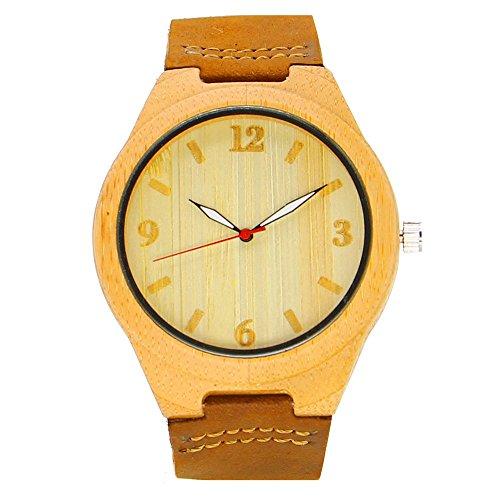 iBigboy Liebhaber aus Holz Uhr mit Mode Leder und einzigartige Zifferblatt Design fuer Freundin Uhr IB 1600Bd