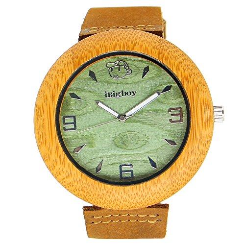 iBigboy Liebhaber Holz Uhr mit Lederband und Quarzwerk unter Laser Namen