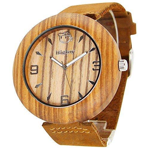 iBigboy Maedchen Holz Uhr mit Zebra Holz Luenette und braunes Lederarmband in Mode Uhr