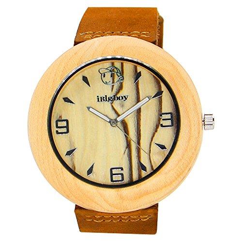 iBigboy OEkologie Holz Uhr mit Laser Namen und DIY Gesicht fuer Mode Uhr