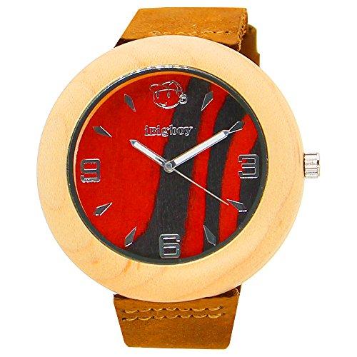 iBigboy Opa Holz Uhr mit Lederband und Quarzwerk fuer Opa Uhr
