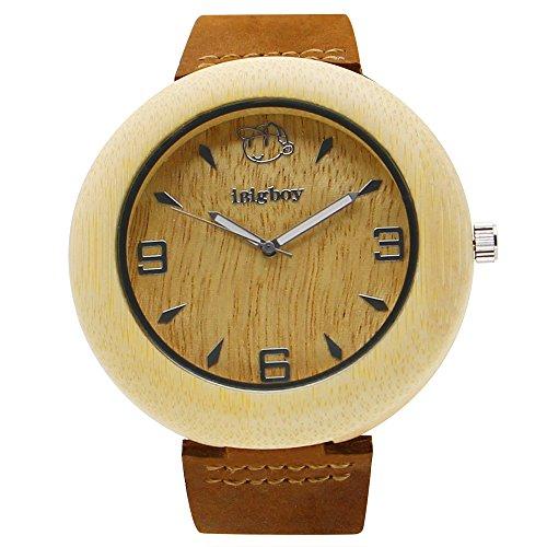 iBigboy Partei Holz Uhr mit weissem Bambus Luenette und braunem Lederband fuer Jungs Uhr
