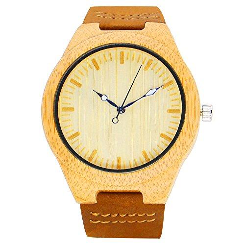 iBigboy Mode Holz Uhr Quarz Leder Beilaeufig Armbanduhr Uhren IB 1600Aa