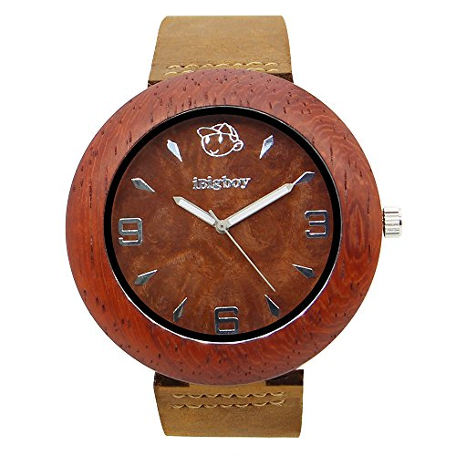 iBigboy Rosen Holzuhr mit Quarzuhr und Leder Uhr fuer