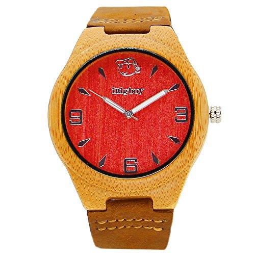iBigboy Laessige Holz Uhr rotes Gesicht und braunes Lederband mit Edelstahl Woelbungs Uhr IB 1607Aa