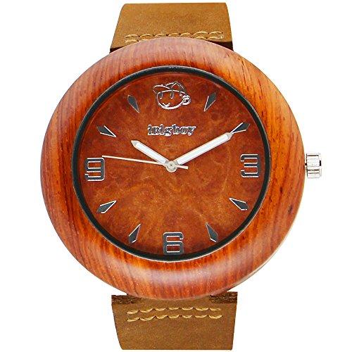 iBigboy Warcraft Holz Uhr mit braunem Gesicht und Palisander Fall fuer Quarzuhr