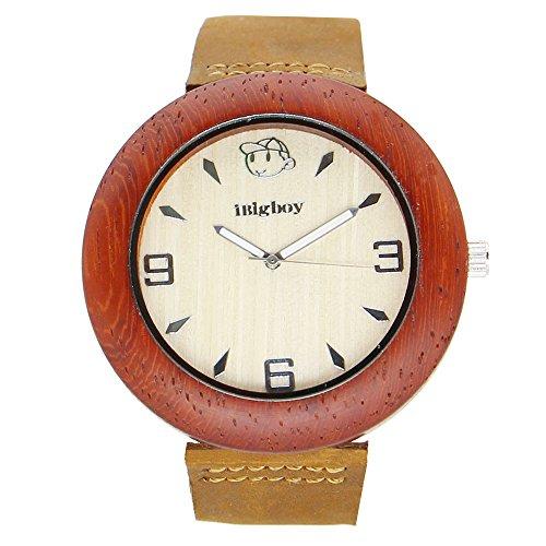 iBigboy Sex Holz Uhr mit Weichem Lederband und Palisander Luenette fuer Partei Uhr