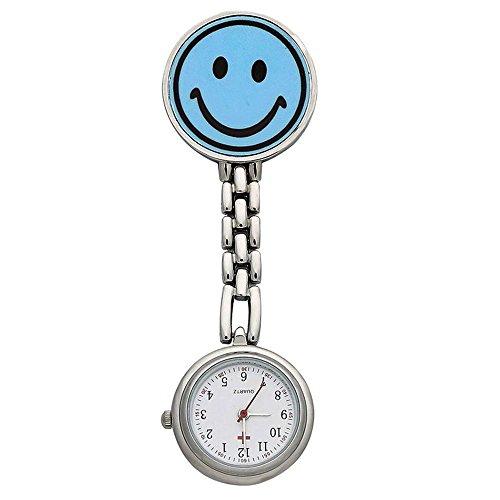 Damen Taschenuhr Krankenschwester weiss Zifferblatt Revers Wechselrahmen Smiley blau Gesicht mit Geschenk Box