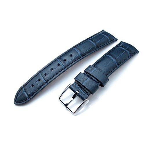20 mm crococalf dunkelblau semi curved Uhrenarmband Blau Naehte P