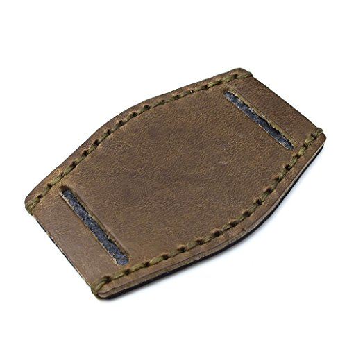 Douglas Gruen Leder Bund Pad fuer 20 mm 22 mm Uhrenarmband Military Gruen Wachs Naehte