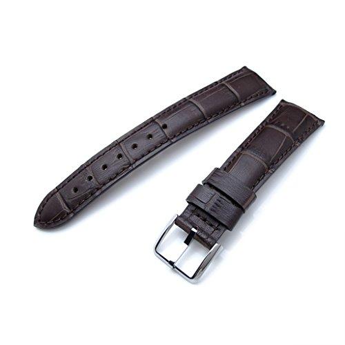 22 mm Kroko Getreide braun semi curved Uhrenarmband aus Leder braune Naehte P