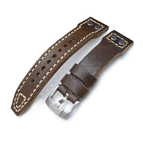 22 mm MiLTAT braun Pull Up anilines Italienisches Leder Uhrenarmband Stift Lug