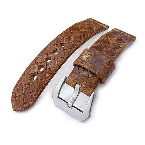 MiLTAT zizz Collection 22 mm geflochten Kalb Leder Uhrenarmband Tawny Braun Braun Stiche