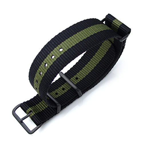 MiLTAT 20 mm G10 NATO Uhrenarmband Nylon Ballistic Armband PVD schwarz Schwarz Mil gruen
