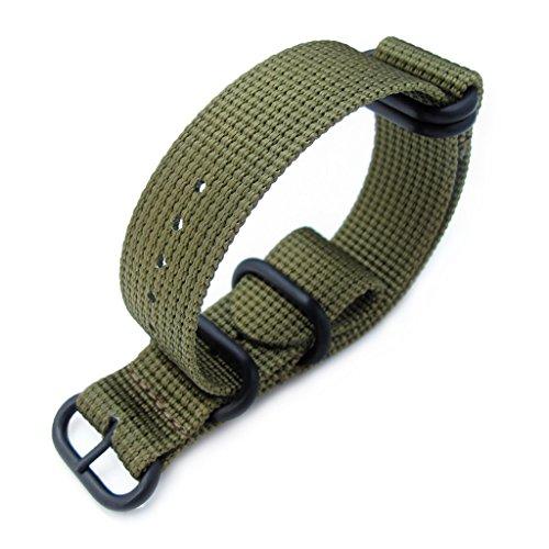 MiLTAT 24 mm 5 Ringe G10 Zulu wasserabweisend 3D Nylon Armbanduhr Band Military Gruen PVD