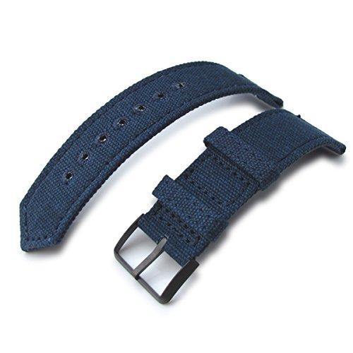 20 mm MiLTAT Marineblau Gewaschen Leinwand Armbanduhr Band Steppstich pin hole PVD