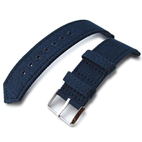 21 mm MiLTAT Marineblau Gewaschen Leinwand Armbanduhr Band Steppstich pin hole Polnisch