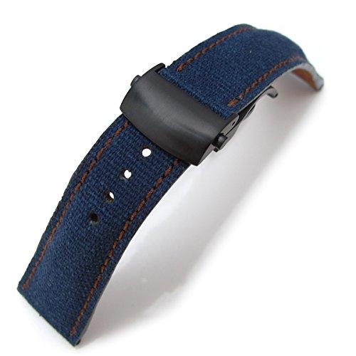 20 mm MiLTAT Marineblau Gewaschen Leinwand Roller Deployant Armbanduhr Band Golden Brown Naehte PVD Verschluss