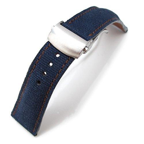 22 mm MiLTAT Marineblau Gewaschen Leinwand Roller Deployant Armbanduhr Band Golden Brown Naehte Buerste Schliesse