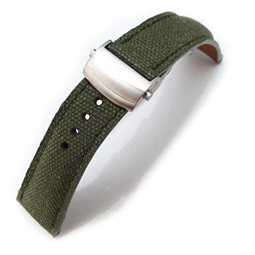 21 mm MiLTAT Military Gruen gewaschen Leinwand Roller Deployant Armbanduhr Band Naht Gruen Buerste Schliesse