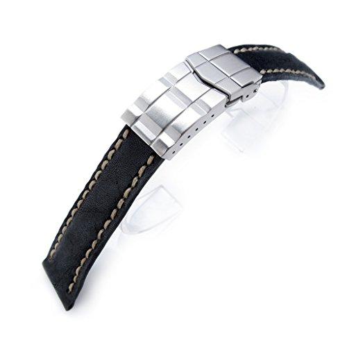 MiLTAT Pull Up Leder Uhrenarmband Schwarz 20 mm Olive Wachs Naehte Deutschen Schliesse BB