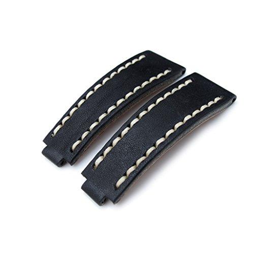 20 mm MiLTAT zizz RX Uhrenarmband nero schwarz Leder beige ST fuer Rolex deutschen AA