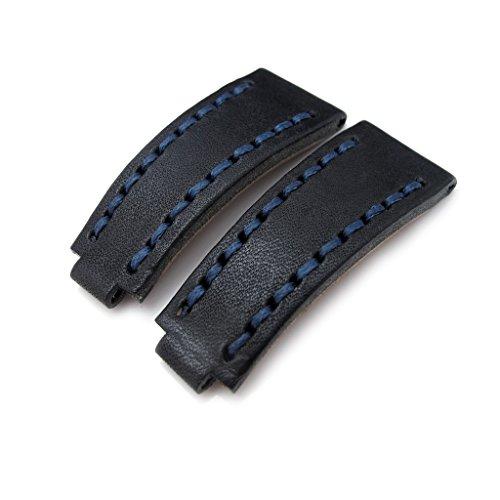 20 mm MiLTAT zizz RX Uhrenarmband nero schwarz Leder Marineblau ST fuer Rolex deutschen CC
