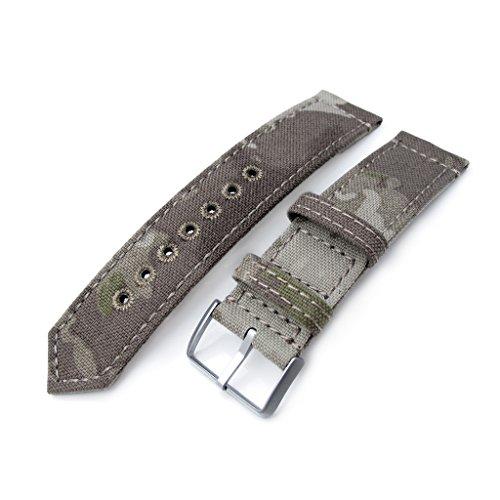 22 mm MiLTAT 2 Weltkrieg 2 teilig Nylon Armbanduhr Band Licht Camouflage grau Steppstich Loch BL