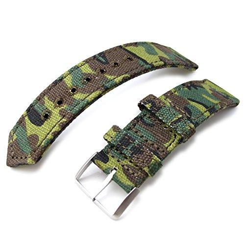 20 mm MiLTAT 2 Weltkrieg Erdl Camouflage Leinwand Armbanduhr Band Steppstich pin hole BL