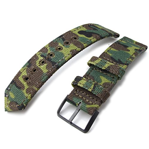 22 mm MiLTAT 2 Weltkrieg Erdl Camouflage Leinwand Armbanduhr Band Steppstich pin hole PVD
