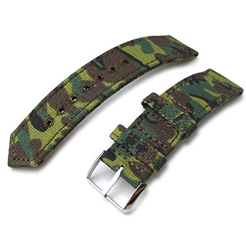 22 mm MiLTAT 2 Weltkrieg Erdl Camouflage Leinwand Armbanduhr Band Steppstich pin hole P