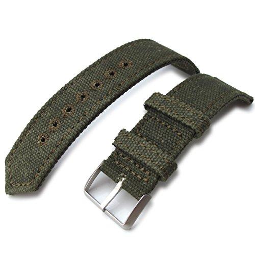 22 mm MiLTAT 2 Weltkrieg Military Gruen gewaschen Leinwand Armbanduhr Band Steppstich pin hole BL