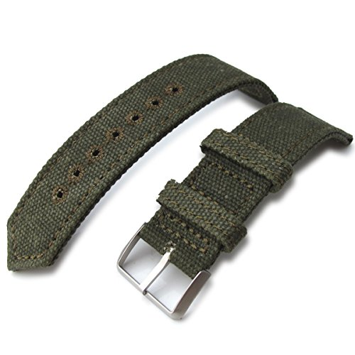 21 mm MiLTAT 2 Weltkrieg Military Gruen gewaschen Leinwand Armbanduhr Band Steppstich pin hole BL