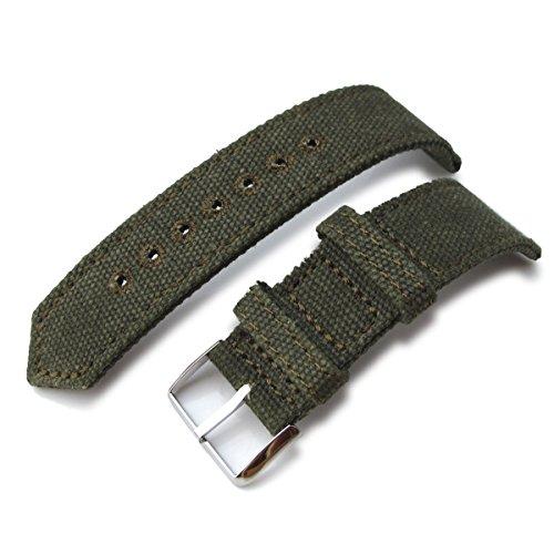 21 mm MiLTAT 2 Weltkrieg Military Gruen gewaschen Leinwand Armbanduhr Band Steppstich pin hole P