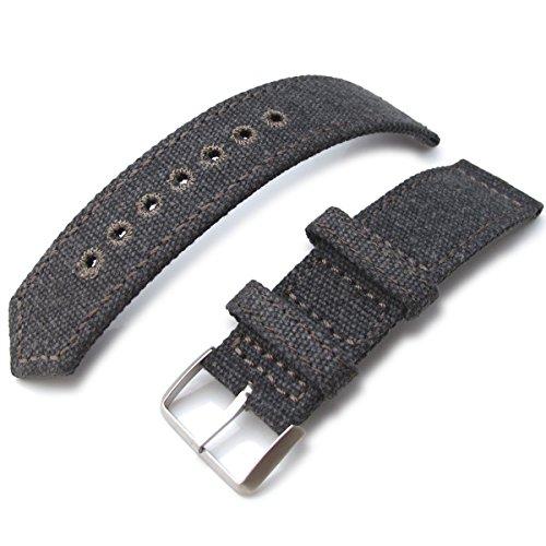 21 mm MiLTAT 2 Weltkrieg Militaer grau washed Leinwand Armbanduhr Band Steppstich pin hole BL