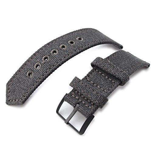 21 mm MiLTAT 2 Weltkrieg Militaer grau washed Leinwand Armbanduhr Band Steppstich pin hole PVD